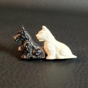 Scottie & Westie Pair PIN BROOCH Scotty Dog Black & White