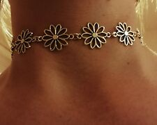 Boho Bohemian Silver DAISY Chain Choker Necklace with gift pouch and tag