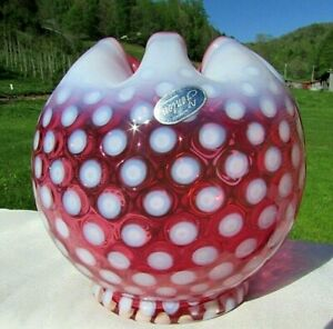 """Fenton Cranberry Opalescent Polka Dot 5""""W Rose Bowl. 1955-56. Mint Condition."""