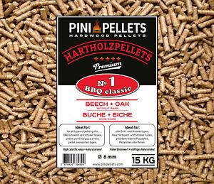 PINI Grillpellets №1 BBQClassic 15Kg Hartholzpellets zum Grillen Räuchern Smoken