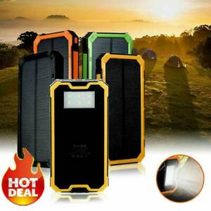 Solar Power Bank Waterproof 2-USB LED Battery Charger For Cell Phone Random