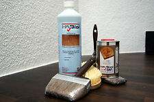 Holzpflege Set: HABiol UV Holzöl 0,5l,  1l Grundreiniger, Pinselset und Bürste