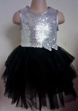 Silver Sequin Black Dance Party Birthday Ball Disco Prom Pageant Girls Dress 2-6