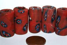 5 x Red millefiori beads RULLO perline di vetro