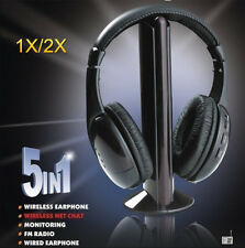 2X 5-In-1 Multi Wireless Headphone Set TV/PC/FM/MP3/Monitoring Headset Over-Ear