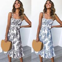 ❤️ Womens Boho Floral Print Midi Dress Summer Party Ladies Strappy Long Sundress