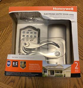 Honeywell Electronic Entry Door Lock. Satin Nickel Keyless Entry (Never Used)