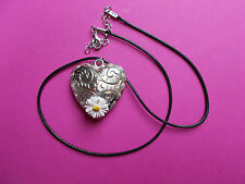 Hand Painted White LAWN DAISY ON LARGE SILVER HEART PENDANT Love Token Necklace