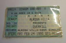 Overkill Concert Ticket Stub Columbus Ohio Alrosa Villa 1995