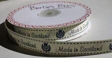 """3m Bertie's Fiocchi Avorio """"MADE IN SCOTLAND"""" stampa 16mm GROS Grain Nastro Wrap etichetta"""