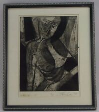 69' ABSTRACT EXPRESSIONIST CUBIST NUDE LTD 3/15 ETCHING MYSTERY ARTIST SIGNED