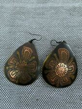 Mixed Metal Earrings Floral Tear Drop