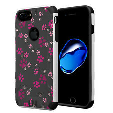 Dual Layer Armor Case for iPhone 7 Plus / 6s Plus / 6 Plus - Paw Print Pink