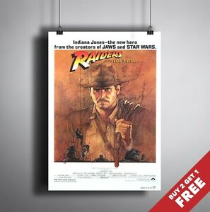 INDIANA JONES RAIDERS OF THE LOST ARK 1981 MOVIE POSTER A3 A4 * Steven Spielberg