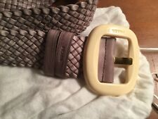 Prada Ladies Plattered Belt in Pale Taupe Size 32 New with Dust Bag