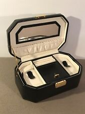Dulwich Designs Black Leather Jewellery Box Vanity Case With Handle