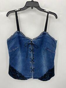 Vintage Venezia Jeans Womens Plus 18 Bustier Blue Jean Denim Black Lace Back Zip
