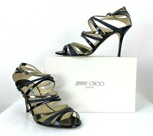 Jimmy Choo in Box 11 US 41 EU Black Leather Strappy Heels Shoes Runway Auth
