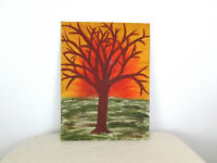 Vtg '60s 12 x 16 Amateur Painting of a Bare Branch Tree in Sunset Landscape