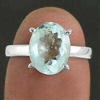 Natural Aquamarine - Brazil 925 Sterling Silver Ring Jewelry s.6 SDR5047