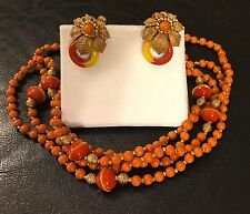 Vintage Haskell Coral Glass Beaded Necklace & Earrings, Private Collection Mint!
