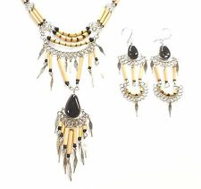 PERU ETHNIC BLACK GLASS ALPACA SILVER NECKLACE EARRINGS SET BAMBOO HANDMADE