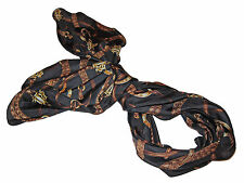 Ralph Lauren Polo Black Gold Silk Leather Horsebit Equestrian Fashion Scarf