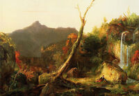 No framed Oil painting Thomas cole - Autumn Landscape Mount Chocorua & young man