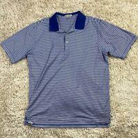 Peter Millar Men's XL Blue Striped Short Sleeve Cotton Golf Polo Shirt