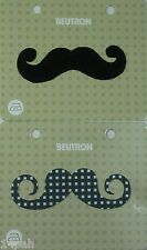 BEUTRON Iron On Motif Appliques 2 = 1 x Black Moustache + 1 x Spot Moustache NEW