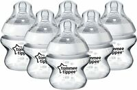 Tommee Tippee Closer To Nature Clear Baby Feeding Bottles 150ml Each - Set of 6