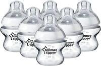 Tommee Tippee Closer To Nature Transparent Bébé Biberons 150ml Chaque - Set 6
