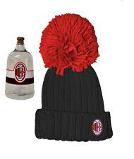 Abbigliameno Milan calcio Cappello nero bimbo ponpon rosso in box  17271 7f7ba8a17468