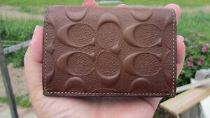NEW COACH card case leather brown signature crossgrain $125 bifold 25752 classic
