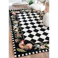 Rooster Area Rug 5u0027 X 8u0027 Kitchen Breakfast Nook Hand Hooked Wool Latex Free