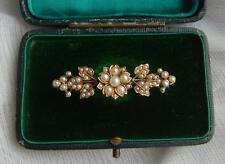 Antiguo Oro 15ct Victoriano Multi Floral Perla semilla luto Bar Broche 7.15gms