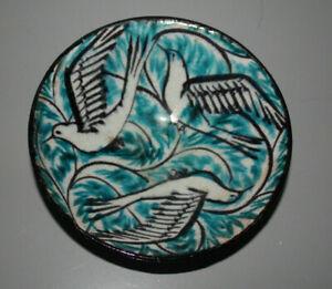Keramik, Steinzeug, Max Läuger, Schale, Schlickermalerei, Vogeldekor, Jugendstil