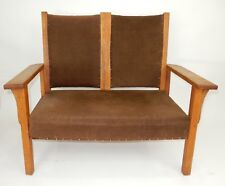 Mission Arts and Crafts Oak Settee 41 inches