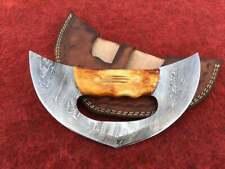 Alaska Ulu Knife, Custom Handmade Damascus Steel Ulu Knife, Fully Functional