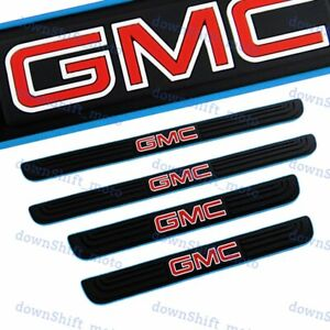 4PCS Black / Blue Rubber Car Door Scuff Sill Cover Panel Step Protector For GMC
