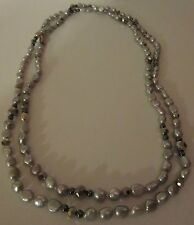 Necklace Silver Genuine Fresh Water Pearls Crystals LONG Strand Layer NWT G321