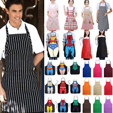 Womens Mens Bib Apron Pockets Unisex Waterproof Kitchen Chef Cooking Waiter Suit