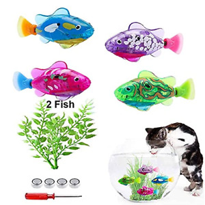 Swimming Robot Fish Toy for Cats, 2Pcs Fish Tank Toy Cat Interactive Pet Toy LED