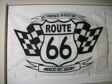 ROUTE 66 FLAG   3' X 5' POLYESTER  CHECKER FLAG DESIGN