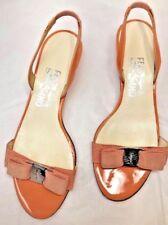 Ferragamo Glory Bow Peach Orange Patent Leather Slingbacks Kitten Heel 7