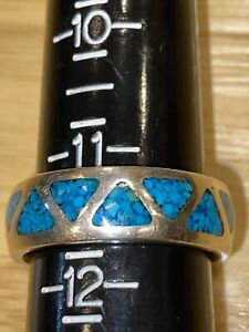 Wheeler Southwestern Sterling Silver 925 Turquoise Inlay Mens Ring Size 11.5