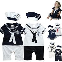 Baby Boy Girl Sailor Marine Carnival Fancy Party Costume Outfit Clothes+HAT Set