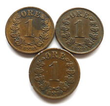 More details for norway 1 ore x 3: dates 1884, 1893 + 1899, oscar ii, bronze, all vf+  km#352
