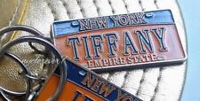 """New York State Car License Plate Keychain Blue Gold Personalized """"Tiffany"""""""