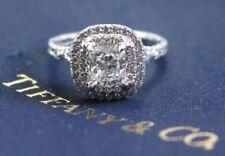 Tiffany & Co Platinum Cushion Cut Diamond Soleste Engagement Ring .98Ct E-VVS1